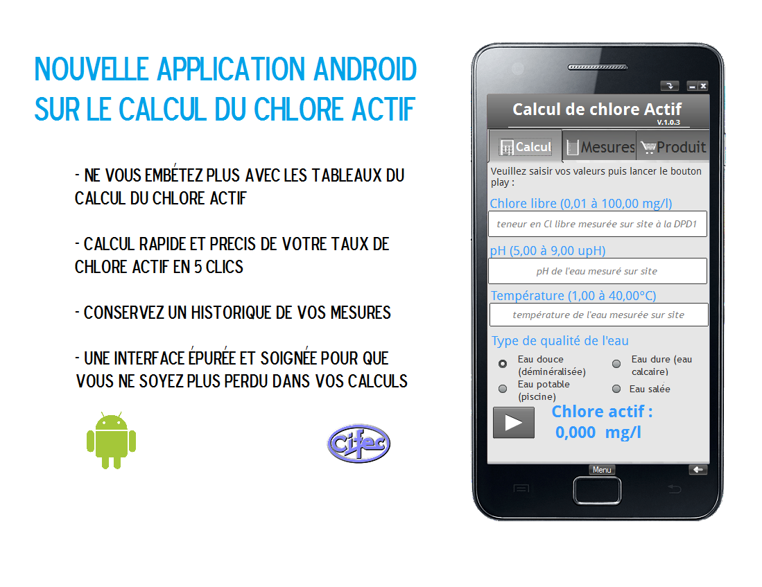 Application android - Calcul du Chlore actif